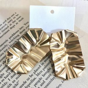 ree People Ruffle Foil Earrings Gold tone  Pierced